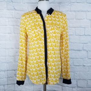 Anthropologie Maeve Sz 2 Blouse Yellow Horse Print